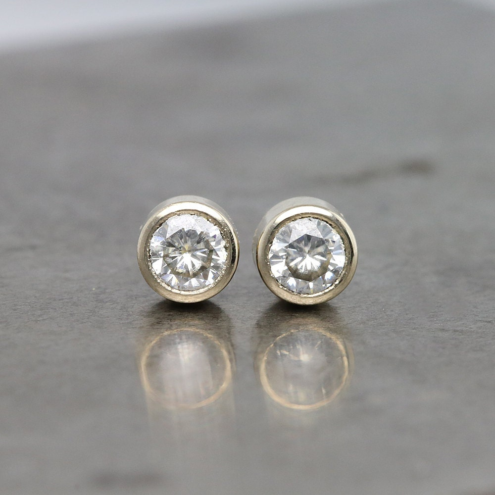 Tiny White Gold And Diamond Stud Earrings By Sarahhoodjewelry