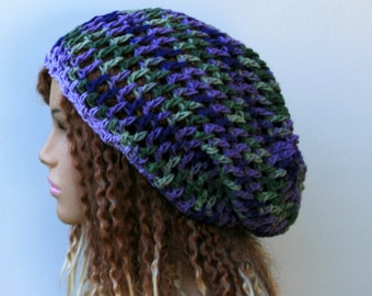 Slouchy hat, cotton hippie sock dread tam slouchy beanie hat, purple green crochet open stitch beanie, woman cotton beanie, slouchy beanie