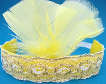 Flapper Girl Headband - Roaring 20's  - Feather Headband - Great Gatsby - Feather Headpiece