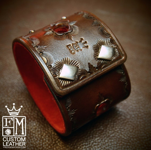 Leather cuff Bracelet Hand Tooled Walnut brown with Red suede lining Made for YOU in NYC by Freddie Matara!