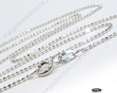 3pcs 16 inch 925 Sterling Silver bead Chain Necklace Diamond Cut 1mm FC2