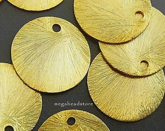 5 pcs 14mm Vermeil Gold Disc Charms Brushed Disc Top Drill Hole F163V