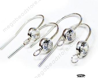 4 pcs Bezel 4mm CZ 925 Sterling Silver Ear Wire Earwire Earring Hook F136