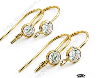 2 Pairs CZ Bezel 14K Gold Filled French Ear Wire Earring Hook F136GF