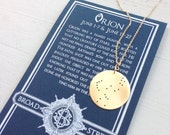 Orion Constellation Pendant Necklace The Huntsman Lost Zodiac // Sterling, Brass or Gold// Custom chain length// Gift for Gemini