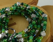 Electric Emerald green stretchy seed bead bracelets with free bonus earrings SIZE LARGE 7 1/2 inches