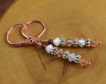 PEACHES AND CREAM copper Les Petite Cristaux Swarovski crystals handcrafted earrings gorgeous and still affordable