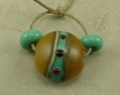 Turquoise Green and Amber Glass Lentil Lampwork Beads - Silvered Ivory Red Organic Earthly Dots Stripes Handmade SRA I ship Internationally