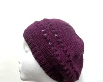 Knitted beanie, purple with eyelets, handmade   4712