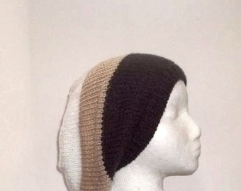 Knitted slouch hat, oversized beanie,three large stripes  4795