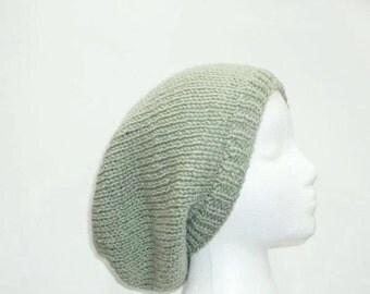 Sage green slouch hat, handmade oversized beanie   5020
