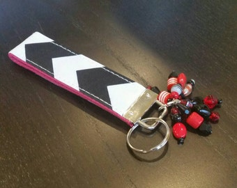 Red and Black Beaded Wristlet Key Chain