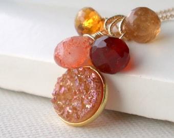Druzy Cluster Necklace. Carnelian Druzy Cascade Necklace. Garnet Druzy Cascade Necklace. Gemstone Druzy Cascade Necklace