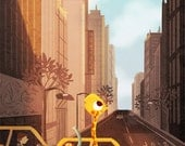"New York City Art, New York Taxi Art, NYC Art, Cute Animal Art, City Art Blank Greeting Card  - ""Yellow Cab"""
