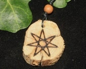 Rare Gorse Wood Faery Star Pendant - For Sensuality - Elven Star, Septagram, Pagan, Wicca, Witchcraft