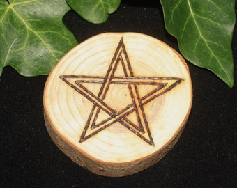 English Yew Wood Pentagram Altar piece - Wicca, Witchcraft, Pagan, Pentacle, Ritual, Magic, Handcrafted, Pyrography