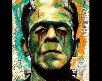 "Print 8x10"" - Sad Frankenstein 2 - Portrait Dracula Classic Monster Horror Gothic Halloween Pop Lowbrow Vintage Dark Art Universal Blood"