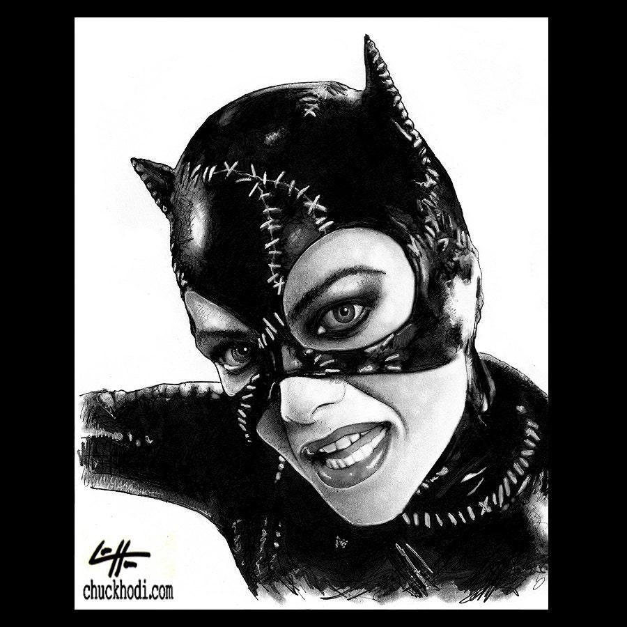 Print 8x10 catwoman michelle pfeiffer michael keaton - Dessin catwoman ...