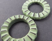 Mint Green Earring Gear Bead Pair, Green Gear Earring Pair, Polymer Clay Donut Earring Bead Pair, Faux Ceramic Earring Pair
