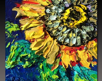 Oil Painting  SUNFLOWER ART B. Sasik  Painting Original Palette Knife