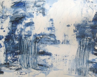 "Ocean Impulse large blue and white abstract painting on canvas 36"" x 48"""