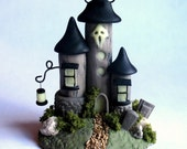 Miniature  Haunted Witch Halloween House with Glow in the Dark Accents OOAK by C. Rohal