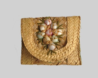 Vintage Straw Clutch Bag, Change Purse, Small, Envelope, Sea Shells, Cotton Lining, 1980's