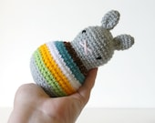 roly poly rabbit sun and sand .. baby rattle, toddler rattle, rabbit toy bunny amigurumi crochet