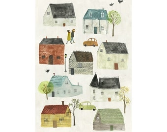 Neighbourhood archival art print - available in 3 sizes