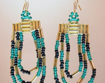 Woven green, black & gold seed bead drop earrings