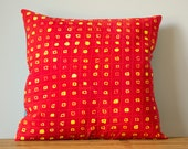 Mini Squares Hand Dyed and Patterned Quilted Pillow Cover