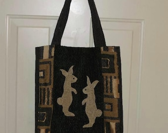 tote bag,purse,bag,bunny,handmade tote bag,rabbit,animal tote bag,blue tote,blue purse,easter bunny,hand bag,large purse,handbag,