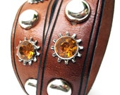 Rustic Brown Leather Dog Collar with Amber Gems and Silver Studs, Size M, to fit a 15-18in Neck, EcoFriendly, OOAK