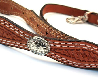 Leather Dog Leash with Western Tooled Silver Concho Handle, EcoFriendly, Lead, Pet Supplies, OOAK