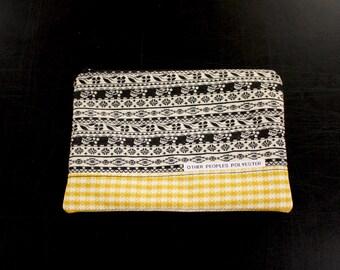 TUTONE vintage polyester zip pouch in Licorice Hieroglyph