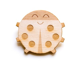 Ladybird Bug - Wooden Badge / Pin / Brooch