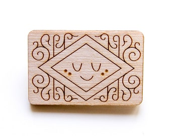 Custard Cream - Wooden Badge / Pin / Brooch