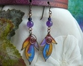 Autumn Woodland Wire Wrapped Resin Leaf Charm Dangle Earrings