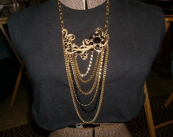 Big and bold multi strand necklace  (black and gold) Statement necklace  Bib necklace