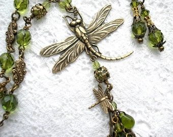 Mossy Glen Dragonfly Olivine Necklace and Earring Set