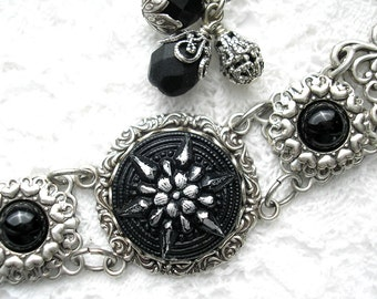 Black Glass Button Bracelet - Antiqued Silver