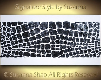 ORIGINAL black and white abstract painting wall art textured reptile print pattern palette knife impasto artwork by Susanna Shap