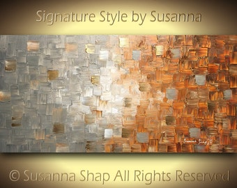 Original Large Textured Abstract Painting Modern Art Earthy Palette Knife Art Canvas Painting Home Decor Acrylic Painting 48x24 by Susanna