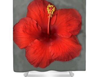 Designer Shower Curtain Art- Red Hibiscus Flower on Grey, modern interior design, bathroom home decor from Susanna's art