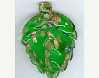 CLEARANCE Bright Green with Gold Lampwork Leaf Bead Pendant