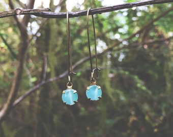 M i n t...Vintage Ocean Green Moonglow Glass Stone, antiqued raw brass, dainty, minimalist earrings FREE SHIPPING