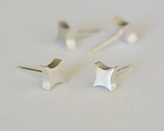 Small Silver Star Stud Earrings Tiny Diamond Post Earrings