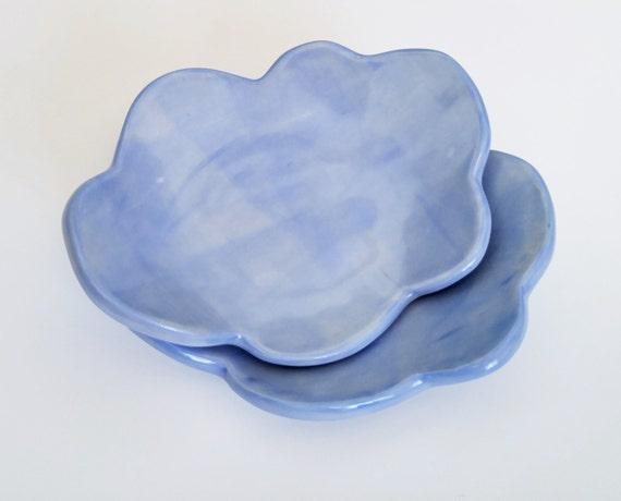 Ceramic Dish - Cloud - Stoneware - Catchall Dish - Soap Dish - Trinket Dish - Ring Dish - Tea Bag Holder - Slab Built - Candle Holder - Blue