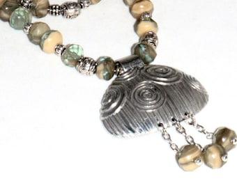 Multi Strand Czech Bead and Dorabeth Pewter Pendant Necklace