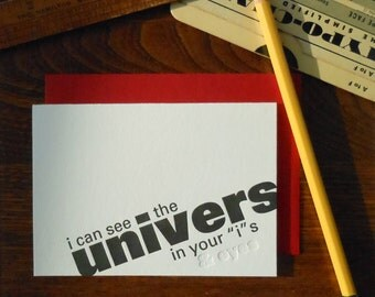 letterpress univers greeting card typography pun font humor black ink and blind emboss on white paper i can see the univers in your eyes